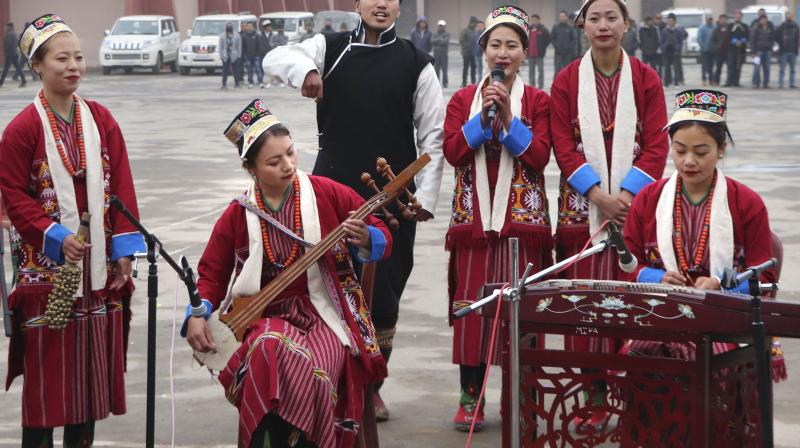 Artists perform during the 34th Statehood Day of Arunachal Pradesh, in Tawang district, February 20, 2020. (PTI)