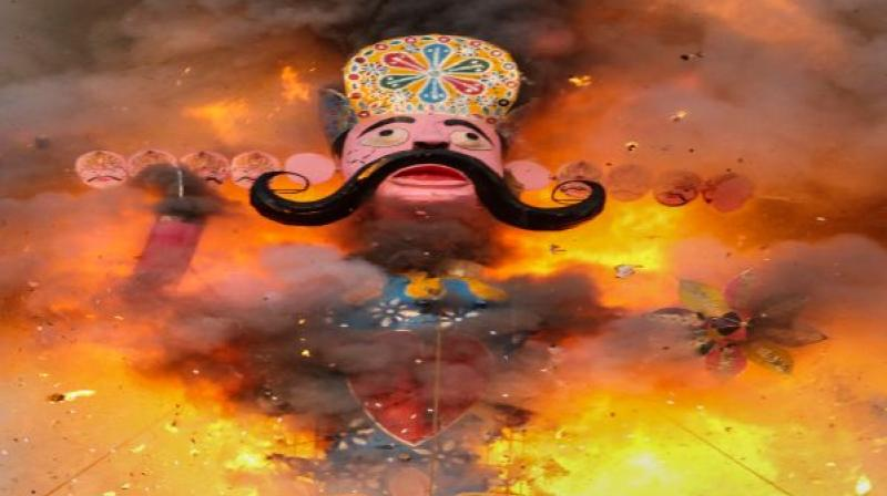 Burning of Ravan's effigy symbolises the triumph of good over evil, and evil should not stand tall, think the organisers of Dussehra event in Bittan Market here. (Photo: Representational)