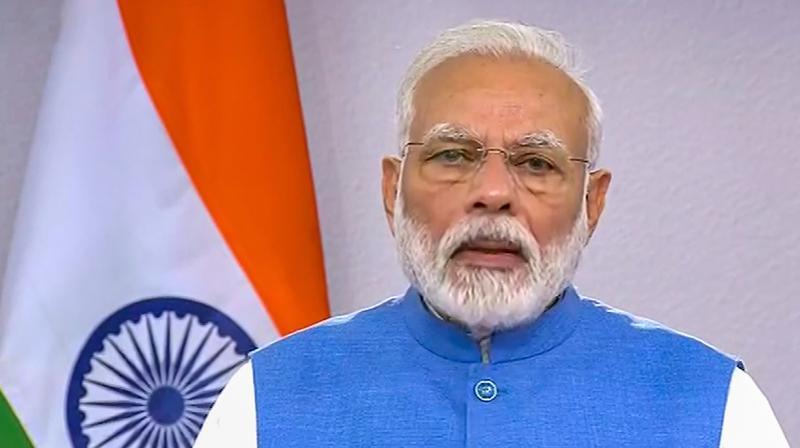 Prime minister Narendra Modi making his address to the nation.