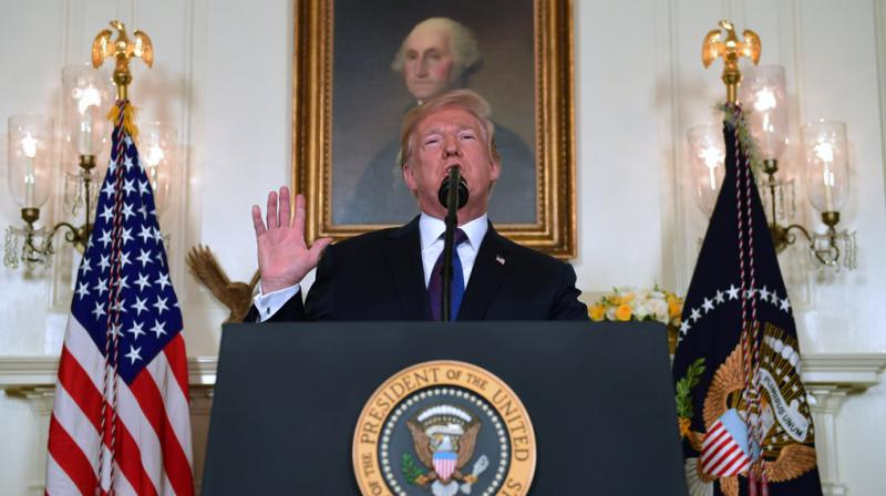"""The president says the North Koreans talk about their nuclear capabilities, """"but ours are so massive and powerful that I pray to God they will never have to be used."""" (Photo: AP)"""
