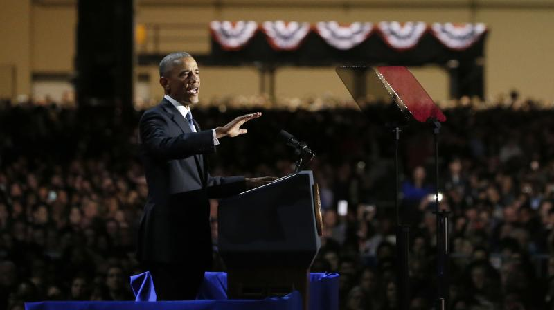 President Barack Obama speaks at McCormick Place in Chicago giving his presidential farewell address. (Photo: AP)
