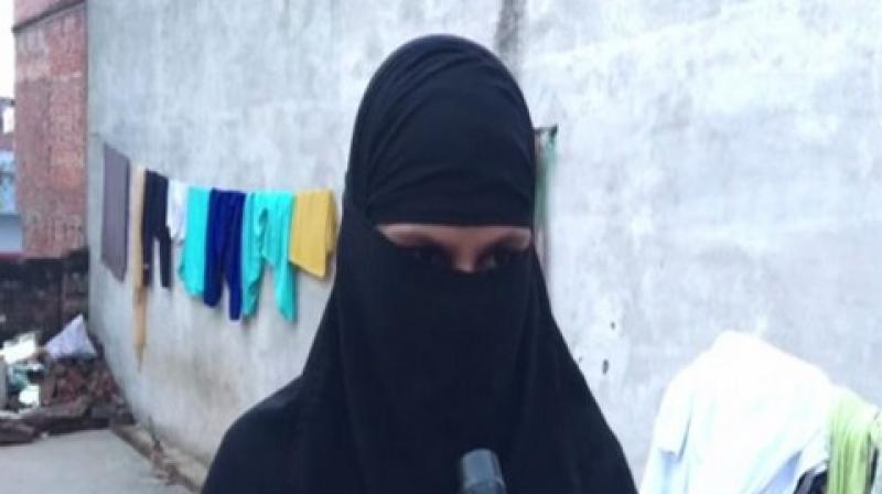 Zafrin Anjum, a resident of Jana Bazar in Haider Ganj Tehsil in Ayodhya, was given instant triple talaq by her husband on August 18 after she gave birth to her second child, a girl. (Photo: ANI)
