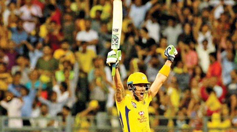 Faf du Plessis celebrates Chennai Super Kings' thrilling win over Sunrisers Hyderabad. (Photo: BCCI)