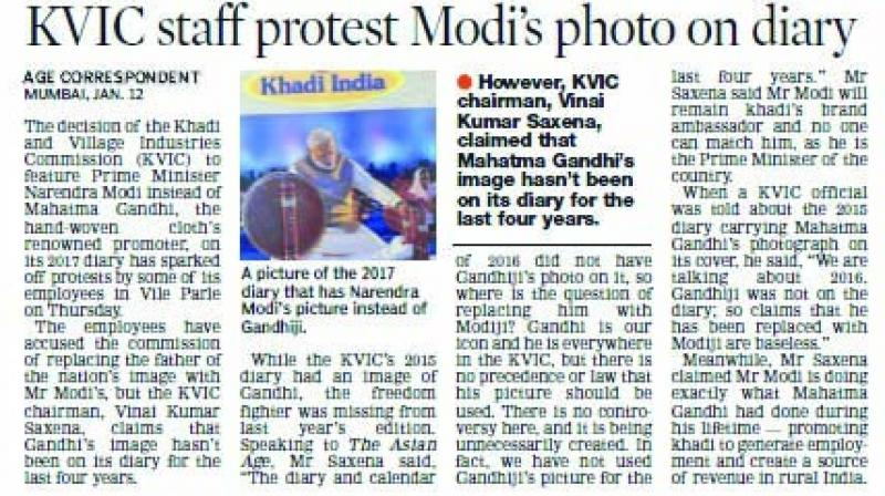 The Asian Age had reported on Jan 12 that KVIC staff protested over Modi's photo.