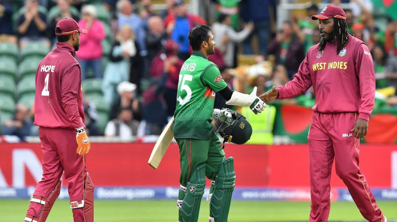 The 32-year-old, Shakib al Hasan became the second Bangladesh player to pass 6,000 runs in ODIs after Tamim Iqbal, making his fourth consecutive 50-plus score to move past Australia skipper Aaron Finch as the tournament's top scorer with 384 runs. (Photo:AFP)