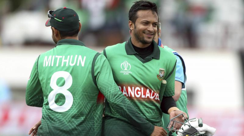 Shakib scored his second century in a row as Bangladesh pulled off the second highest successful run chase in the tournament's history to beat twice champions West Indies by seven wickets. (Photo:AP)