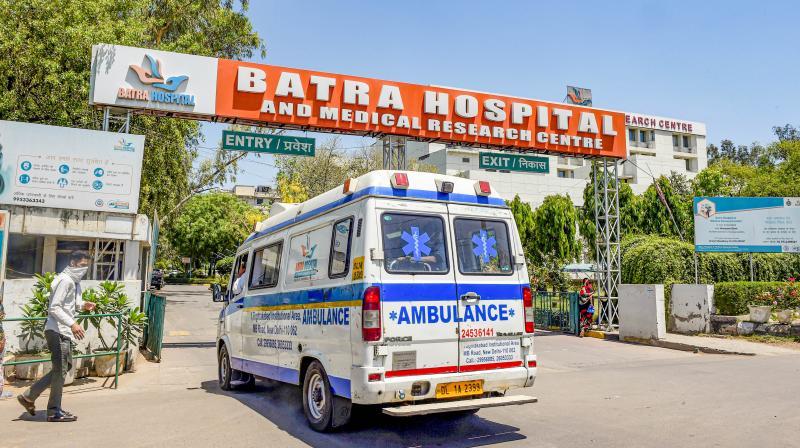 An ambulance arrives at Batra Hospital, a dedicated COVID-19 facility, in New Delhi. (PTI)