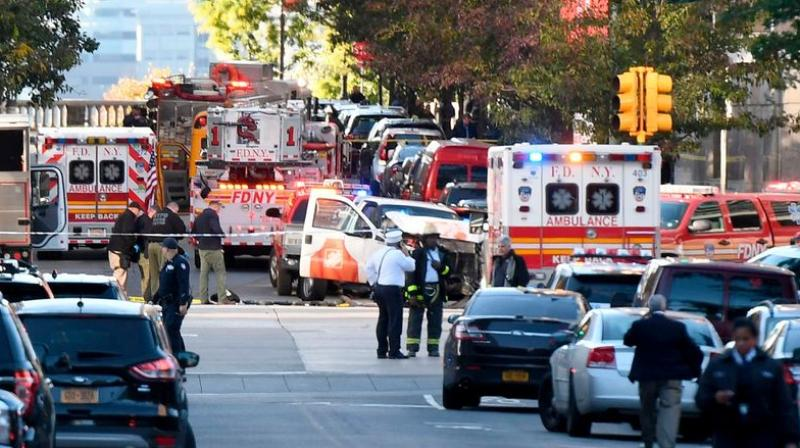 A pickup driver killed eight people in New York on Tuesday, mowing down cyclists and pedestrians, before striking a school bus in the city's first deadly attack blamed on terror since September 11, 2001. (Photo: AFP)