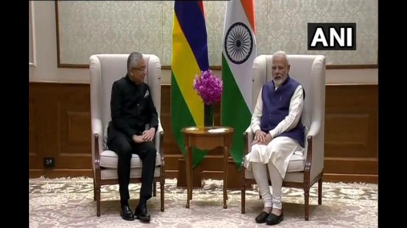 PM Modi had congratulated Jugnauth over his victory during a telephonic conversation last month and extended him an invitation to visit New Delhi at his early convenience, which was accepted by the latter. (Photo: ANI)
