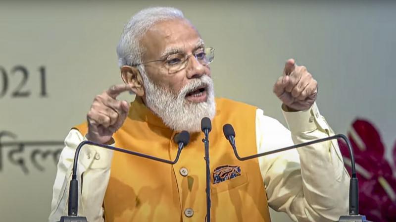: Prime Minister Narendra Modi addresses during the review of the Mega Gatishakti Master Plan, in New Delhi. (PTI)