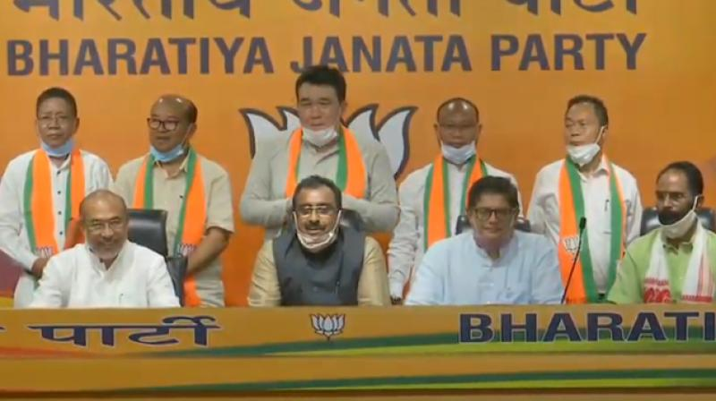 Five Ex-INC MLAs from joined BJP in the presence of Ram Madhav,Jay Panda and CM N Biren Singh.