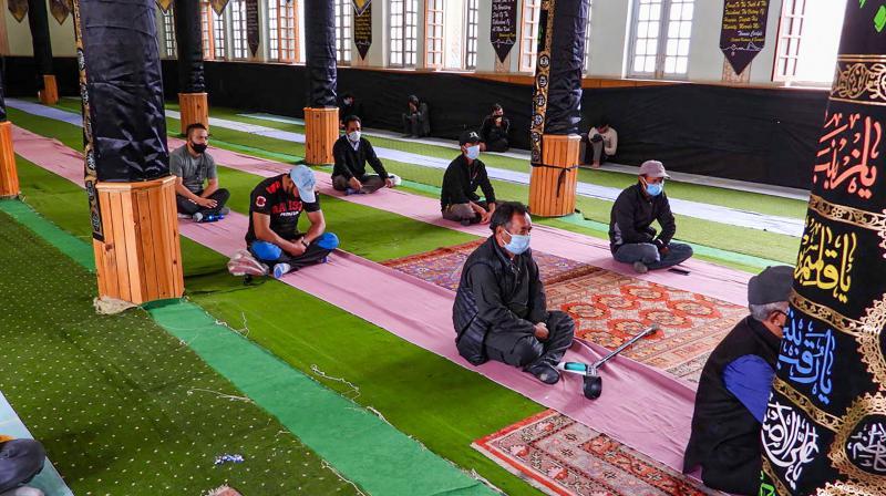 Shia Muslims following social distancing guidelines observe Muharram at Matam-Sara in Leh. (PTI)