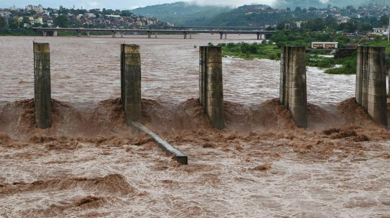 The Tawi river after heavy rains. (PTI)