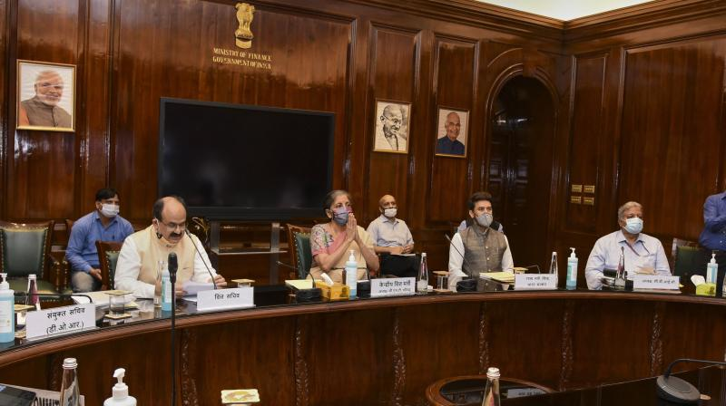 Union Finance Minister Nirmala Sitharaman chairs the 41st GST Council meeting via video conferencing, in New Delhi, Thursday, Aug 27, 2020. MoS for Finance Anurag Thakur and Finance Secretary Ajay Bhushan Pandey are also seen.