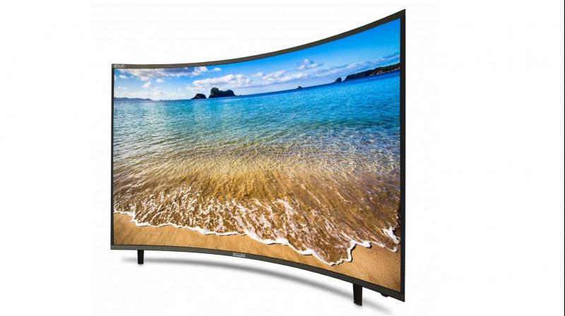 The TV sports a 4K resolution with two HDMI inputs and an airmouse remote for smart features.