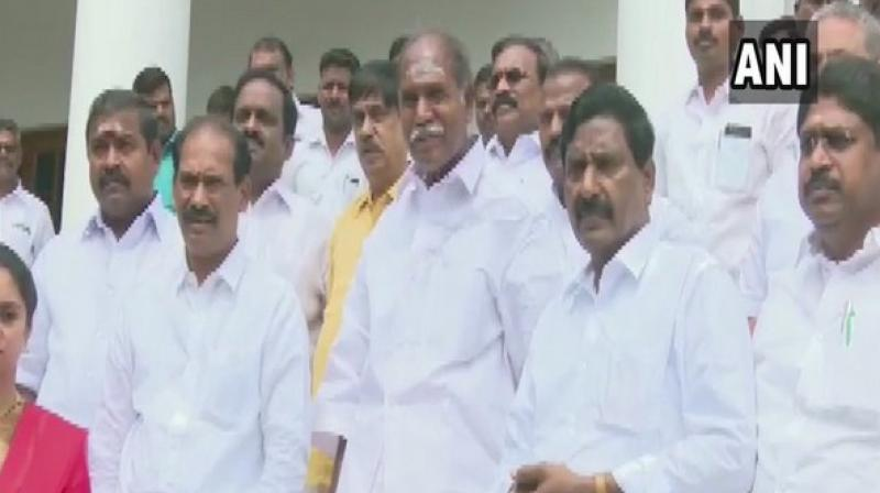 They had also submitted a notice to the Puducherry Assembly Secretary for moving a 'no confidence' motion against Speaker V P Sivakolundhu last week. (Photo: ANI)