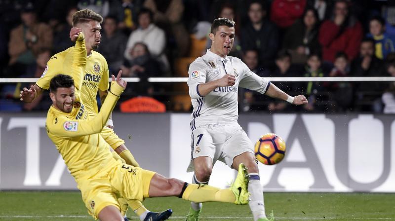 Real Madrid's Cristiano Ronaldo in action against Villarreal. (Photo: AP)