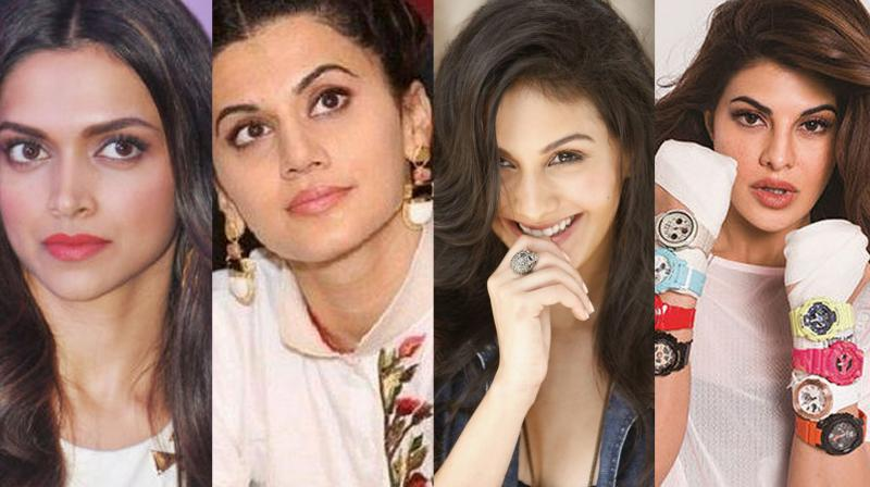 Bollywood actresses: Deepika Padukone, Taapsee Pannu, Amyra Dastur, Jacqueline Fernandez.