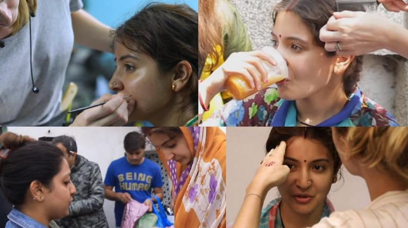 Anushka getting her look right for Sui Dhaaga: Made In India. (YouTube/YRF)