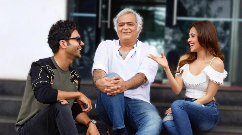Rajkummar Rao and Nushrat Bharucha with director Hansal Mehta. (Courtesy: Instagram)