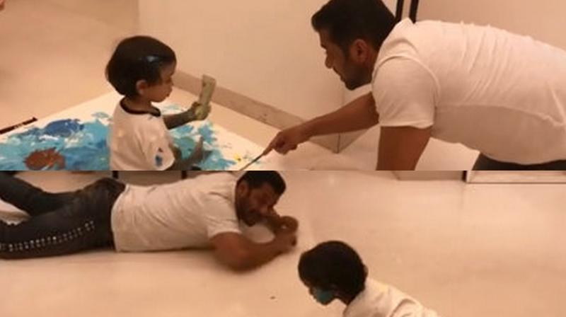 Salman Khan with his nephew Ahil. (Courtesy: Instagram)