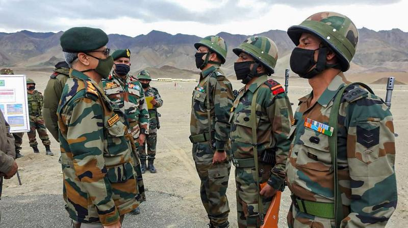 Army Chief General Manoj Mukund Naravane during his visit to review the security situation in Ladakh. — PTI photo