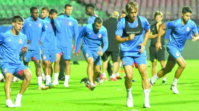 Girona FC players at a training session in Kochi on Thursday. (Photo: Sunoj Ninan Mathew)