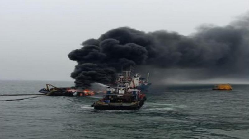 The offshore Coastal Jaguar caught fire at around 11 am. (Photo: ANI)