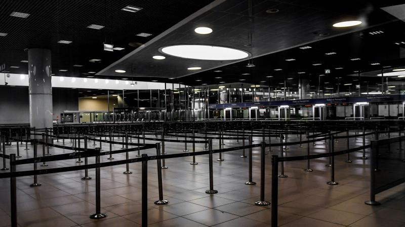 An empty passport control area is pictured at one of the airport terminals. AFP photo