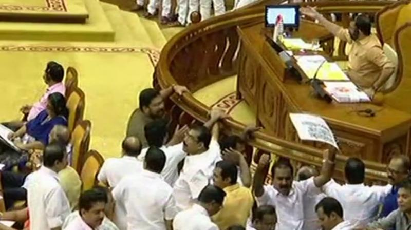 When the Question Hour began, opposition members went ahead with their sloganeering.  (Photo: ANI | Twitter)