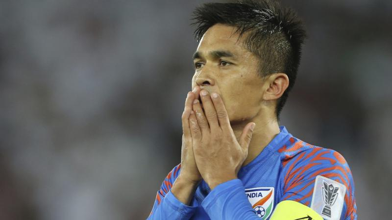 Chhetri became the most capped India player by surpassing Bhaichung Bhutia's 107 international matches (Photo: AP)