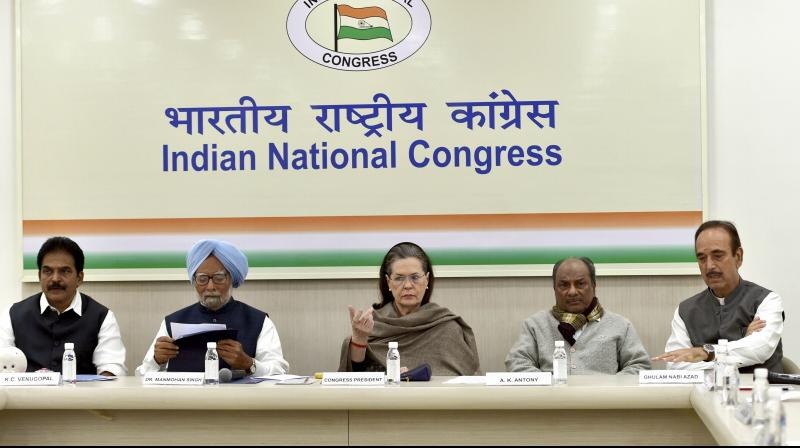 Congress President Sonia Gandhi, party leaders Manmohan Singh, AK Anthony, Ghulam Nabi Azad and KC Venugopal during the Congress Working Committee (CWC) meeting to discuss the prevailing situation in northeast Delhi, at AICC headquarters in New Delhi. PTI photo