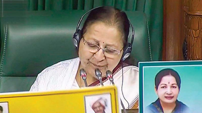 Speaker Sumitra Mahajan conducts a proceeding during the Winter Session of Parliament in New Delhi. (Photo: PTI)