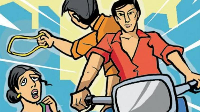 """""""The other man came towards me and touched my feet. He then got up and pushed me, following which he snatched my chain and fled on their motorcycles,"""" the complaint said. (Representational Image)"""