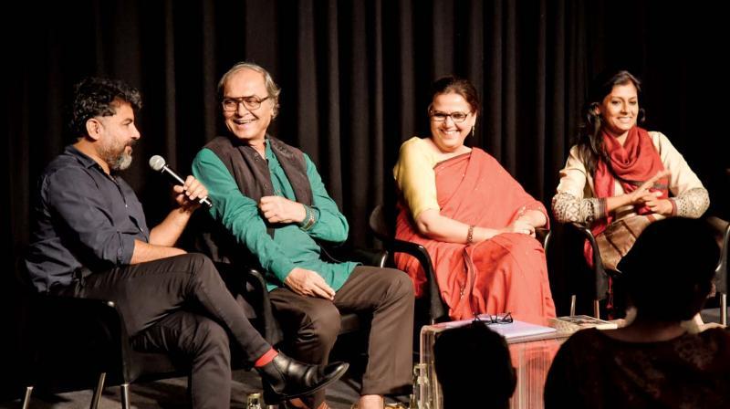 From Left: Danish Hussain, Javed Anand, Rakhshanda Jalil and Nandita Das.