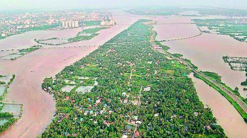 An aerial view of the floods in Aluva after heavy rains, in Kerala. (Photo: PTI)