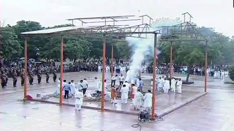 India's former PM Atal Bihari Vajpayee was accorded a gun salute and laid to rest on Friday. (Photo: Twitter | ANI)