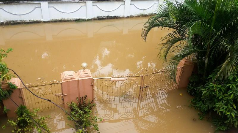 Flood water enters the residence of PTI reporter Manoj Rammohan, in Palakkad on Tuesday, Aug 14. (Photo: PTI)