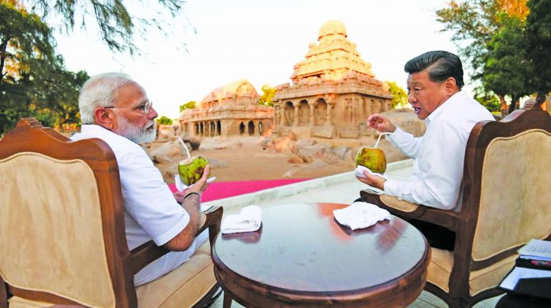 Prime Minister Narendra Modi with Chinese President Xi Jinping in Mamallapuram on Friday, ahead of their informal summit talks. (Photo: Asian Age)