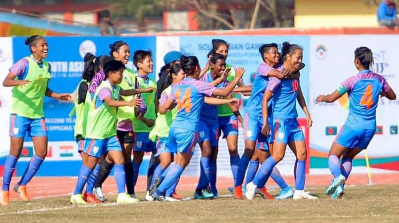 The Indian women's team won its third consecutive gold medal at the South Asian Games after triumphing 2-0 over Nepal in the summit clash of the 2019 edition, in Pokhara on Monday. (Photo: Twitter)