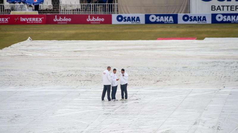 Day four of the first Test between Pakistan and Sri Lanka was delayed due to wet outfield on Saturday. (Photo: Twitter/ ICC)