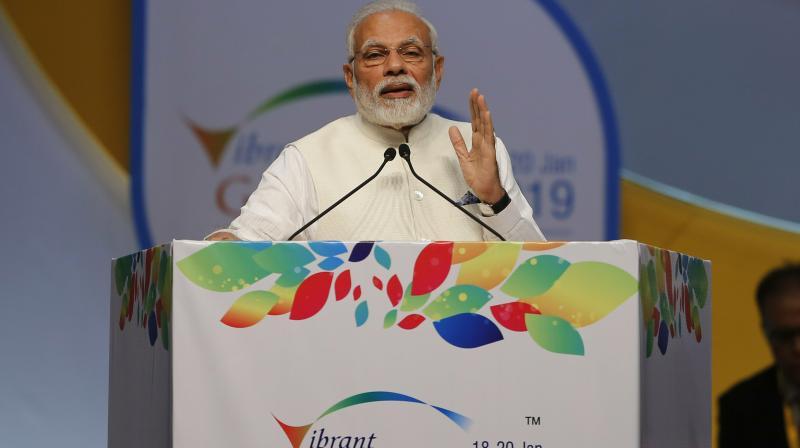 Prime Minister Narendra Modi speaks during the inauguration of the 9th Vibrant Gujarat Global Summit (VGGS) in Gandhinagar on Friday. (Photo: PTI)