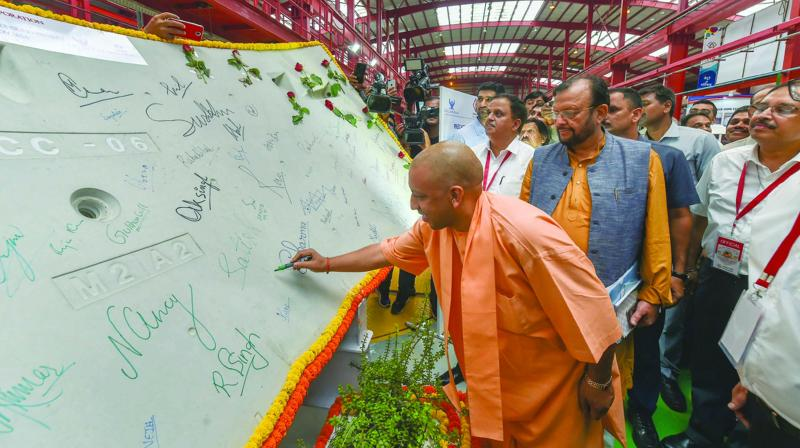Uttar Pradesh chief minister Yogi Adityanath during a visit to metro hub on completion of one year of Lucknow Metro in Lucknow.