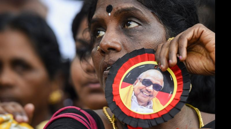 Karunanidhi for the last two years, he was confined to his Gopalapuram residence since he fell ill in October 2016, managing to faintly recognise people with his wide trademark smile. (Photo: Twitter/@kalaignar89)