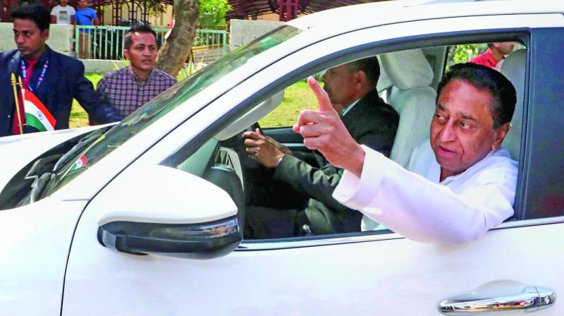 Madhya Pradesh chief minister Kamal Nath leaves after a meeting with party MLAs and others in Bhopal on Wednesday.(Photo: PTI)
