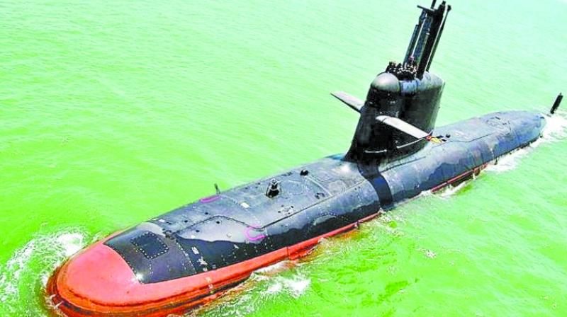 A Kalvari class submarine. The features of the submarine includes superior stealth and the ability to launch a crippling attack on the enemy.