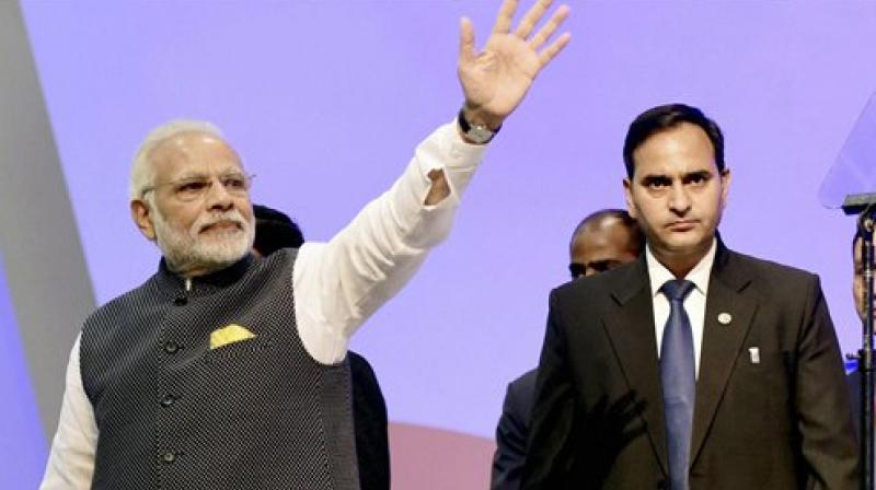 Prime Minister Narendra Modi at the Vibrant Gujarat Global Summit 2017, in Gandhinagar, Gujarat. (Photo: AP)