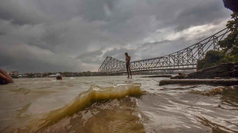 Storm like weather conditions near Howrah Bridge due to formation of Cyclone Yaas in the Bay of Bengal, in Howrah, Monday, May 24, 2021. (PTI Photo)