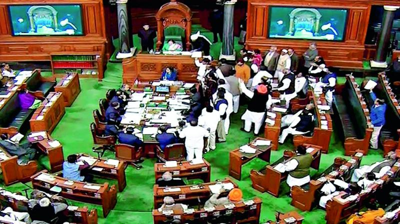During the Question Hour, Congress leader Mallikarjun Kharge brought the attention of Speaker Sumitra Mahajan that an officer was standing in the Officers' Gallery, taking notes of the debates and even counting the number of MPs present in the opposition benches. (Photo: PTI)