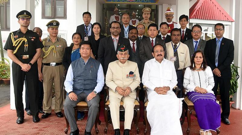 Vice President M. Venkaiah Naidu with the staff of Rajbhavan in Arunachal Pradesh. (Wikimedia Commons)